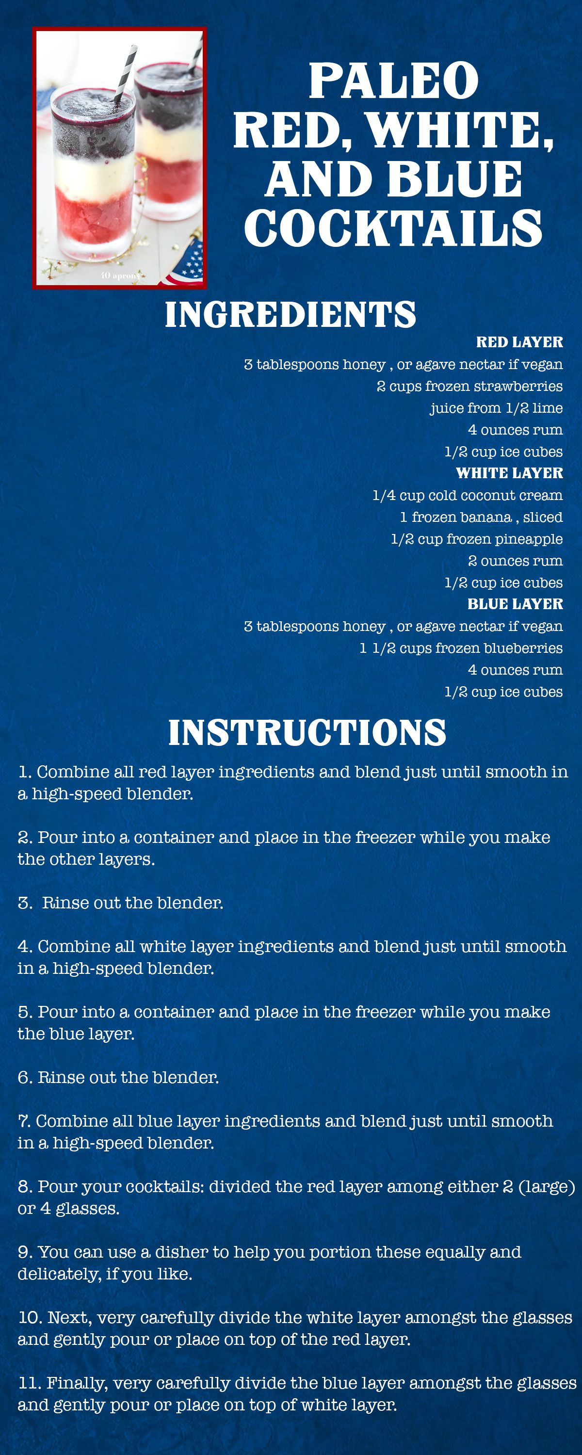 Paleo Red, White, and Blue Cocktails Recipe Card