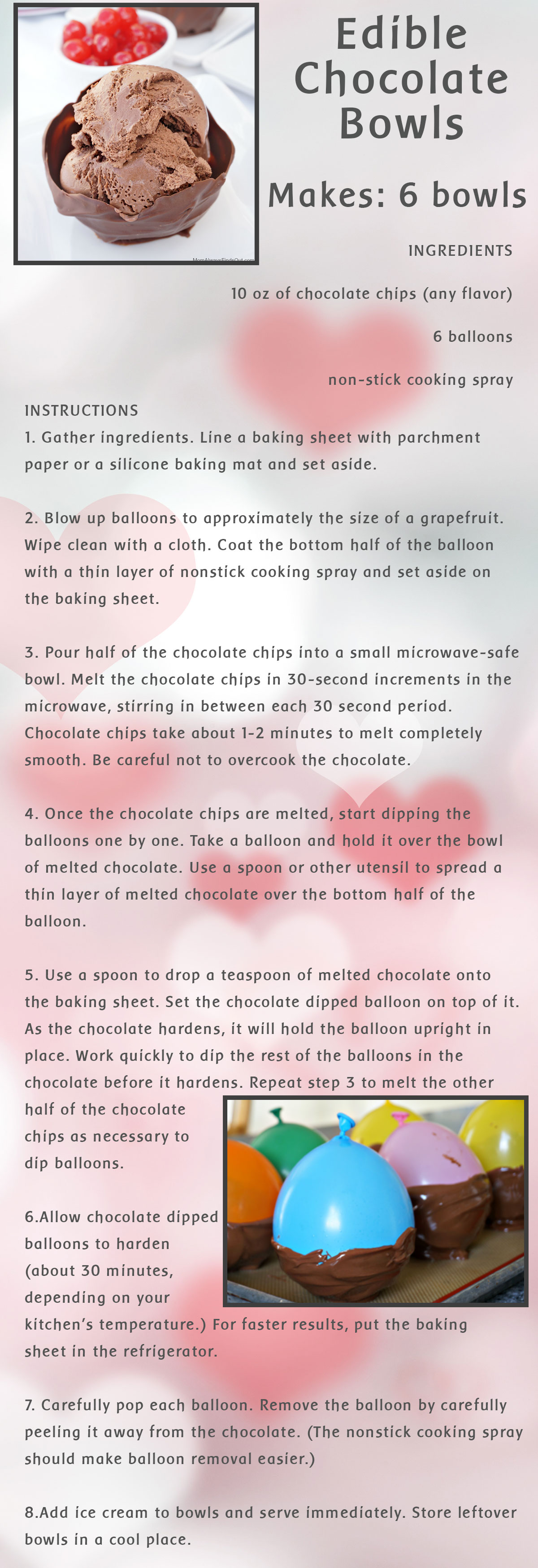 Edible Chocolate Bowls Recipe Card