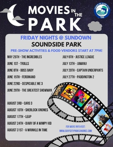 movies in the park with dates flyer | Coastline Realty Vacations